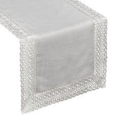 Srebrny bieżnik do jadalni z gipiurą 40x180 cm - 40 X 180 cm - srebrny 1