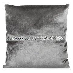 Poszewka na poduszkę stalowa ze srebrnym paskiem 40 x 40 cm  - 40 X 40 cm - szary 1