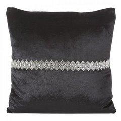Poszewka na poduszkę czarna ze srebrnym paskiem 40 x 40 - 40 X 40 cm - czarny 1