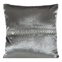 Poszewka na poduszkę stalowa ze srebrnym paskiem 40 x 40 cm  - 40x40 - szary 1