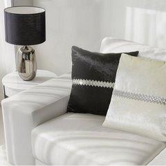 Poszewka na poduszkę kremowa ze srebrnym paskiem 40 x 40 cm  - 40x40 - kremowy 3