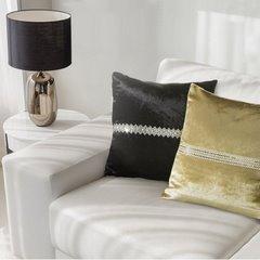 Poszewka na poduszkę ciemnozielona ze srebrnym paskiem 40 x 40 cm  - 40 X 40 cm - zielony 3