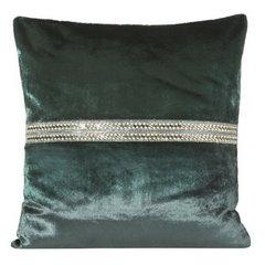 Poszewka na poduszkę ciemnozielona ze srebrnym paskiem 40 x 40 cm  - 40 X 40 cm - zielony 1