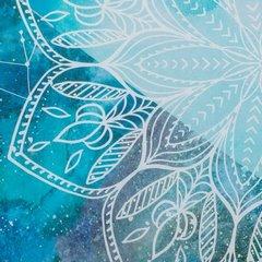 Komplet pościeli bawełnianej 220 x 200, 2 szt. 70 x 80 nadruk z mandalą hiszpańska bawełna - 220x200 - turkusowy / niebieski 1