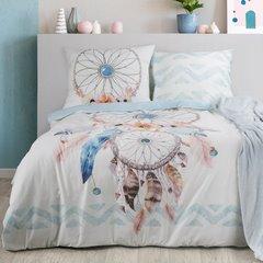 Komplet pościeli bawełnianej 220 x 200, 2 szt. 70 x 80 łapacz snów hiszpańska bawełna - 220x200 - biały / niebieski 2