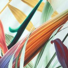 Komplet pościeli  bawełnianej 220 x 200 cm, 2 szt. 70 x 80 egzotyczny nadruk bawełna hiszpańska - 220x200 - biały / zielony 1