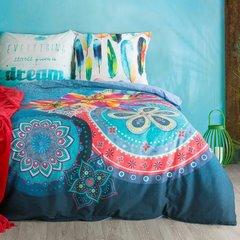 Komplet pościeli  z bawełny hiszpańskiej  160 x 200 cm, 2 szt. 70 x 80 styl boho bawełna hiszpańska - 160x200 - biały / niebieski 2