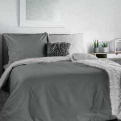 Komplet pościeli bawełnianej 220x200 cm, 2 szt. 70x80 dwustronny srebrno-stalowy - 220 X 200 cm, 2 szt. 70 X 80 cm - jasnoszary/stalowy 1