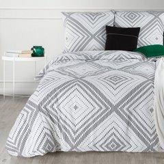 Komplet pościeli bawełnianej 160x200 cm, 2 szt. 70x80 cm nadruk geometryczny biało-czarny - 160x200 - biały / czarny 1