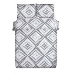 Komplet pościeli bawełnianej 160x200 cm, 2 szt. 70x80 cm nadruk geometryczny biało-czarny - 160 X 200 cm, 2 szt. 70 X 80 cm - biały/czarny 2