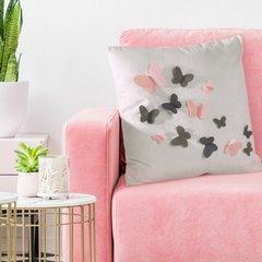 Poszewka welwetowa biała z kolorowymi motylkami 45 x 45cm - 45 X 45 cm - ecru/stalowy/różowy 5