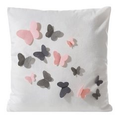 Poszewka welwetowa biała z kolorowymi motylkami 45 x 45cm - 45 X 45 cm - ecru/stalowy/różowy 3