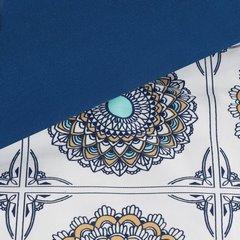 Komplet pościeli z satyny bawełnianej 160x200 cm, 2 szt. 70x80 cm nadruk mandale w kwadratach - 160x200 - biały / czerwony / pomarańczowy / żółty 3