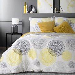 Komplet pościeli z satyny bawełnianej 160x200 cm, 2 szt. 70x80 cm nadruk szaro-żółte mandale - 160x200 - biały / czerwony / pomarańczowy / żółty 2