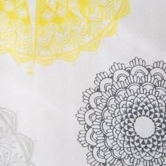 Komplet pościeli z satyny bawełnianej 220x200 cm, 2 szt. 70x80 cm nadruk szaro-żółte mandale - 220x200 - biały / grafitowy 2