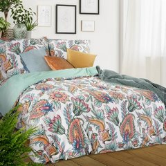 Komplet pościeli  bawełnianej 160 x 200 cm, 2 szt. 70 x 80 styl boho bawełna hiszpańska - 160x200 - biały / czerwony / pomarańczowy / żółty 2