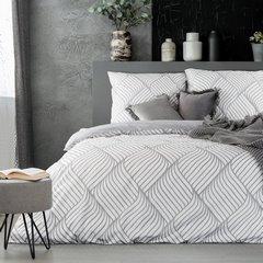 Komplet pościeli z bawełny 160x200 cm, 2 szt. 70x80 cm nowoczesny symetryczny wzór - 160 X 200 cm, 2 szt. 70 X 80 cm - stalowy/biały 1