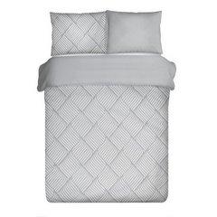 Komplet pościeli z bawełny 160x200 cm, 2 szt. 70x80 cm nowoczesny symetryczny wzór - 160 X 200 cm, 2 szt. 70 X 80 cm - stalowy/biały 2