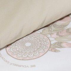 Komplet pościeli z bawełny 160x200 cm, 2 szt. 70x80 cm nadruk łapacz snów - 160x200 - biały / beżowy 1