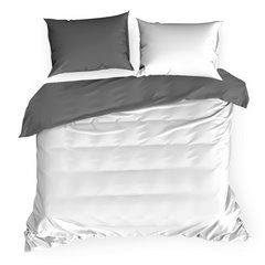 Komplet pościeli z makosatyny bawełnianej 160 x 200 cm, 2szt. 70 x 80 cm, biało-stalowa - 160x200 - biały / szary 3