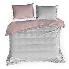 Komplet pościeli z makosatyny bawełnianej 140 x 200 cm, 1szt. 70 x 80 cm, popielato-różowy - 140 X 200 cm, 1 szt. 70 X 80 cm - jasnoszary/pudrowy 2