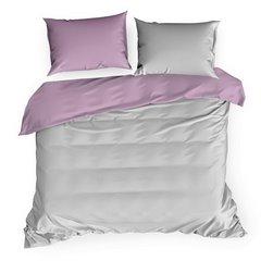Komplet pościeli z makosatyny bawełnianej 160 x 200 cm, 2szt. 70 x 80 cm, popielato-różowy - 160 X 200 cm, 2 szt. 70 X 80 cm - jasnoszary/ciemnoróżowy 2