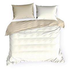 Komplet pościeli z makosatyny bawełnianej 180 x 200 cm, 2szt. 70 x 80 cm, kremowo-beżowy - 180 X 200 cm, 2 szt. 70 X 80cm - kremowy/beżowy 2