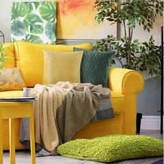 Poszewka dekoracyjna na poduszkę 45 x 45 kolor c.zielony - 45 X 45 cm - ciemnozielony 3