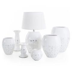 BLAZE BIAŁA LAMPA STOŁOWA  CERAMICZNA  Z MATOWYM ABAŻUREM 18x18x41 cm - 18 X 18 X 41 cm - biały 2