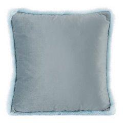 Poszewka na poduszkę 45 x 45 cm niebieska z futerkowym obszyciem  - 45x45 - niebieski 1