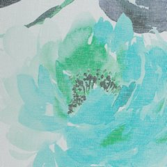 Zasłona w kwiaty na przelotkach 140 x 250 cm kwiaty turkusowo biała - 140x250 - biały / turkusowy 3