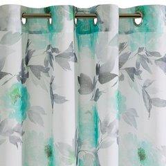 Zasłona w kwiaty na przelotkach 140 x 250 cm kwiaty turkusowo biała - 140x250 - biały / turkusowy 5