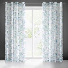 Biała zasłona kwiatowy turkusowy wzór 140x250 na przelotkach - 140 X 250 cm - niebieski 2