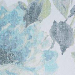 Biała zasłona kwiatowy turkusowy wzór 140x250 na przelotkach - 140 X 250 cm - niebieski 4