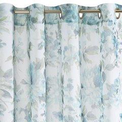 Biała zasłona kwiatowy turkusowy wzór 140x250 na przelotkach - 140 X 250 cm - niebieski 6