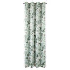 Zasłona welwetowa z roślinnym nadrukiem 140x250 cm przelotki - 140 X 250 cm - zielony 5