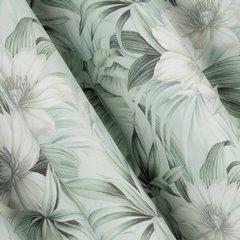 Zasłona welwetowa z roślinnym nadrukiem 140x250 cm przelotki - 140x250 - kremowy / zielony 1