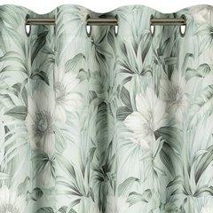 Zasłona welwetowa z roślinnym nadrukiem 140x250 cm przelotki - 140x250 - kremowy / zielony 2