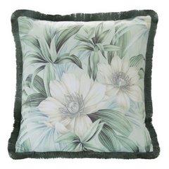 Poszewka welwetowa nadruk kwiatowy frędzle mi x kolorów 45 x 45cm - 45 X 45 cm - zielony / kremowy 1