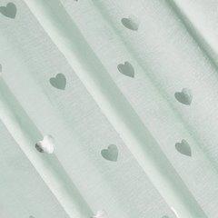 Miętowa firana ze srebrnymi sercami na przelotkach 140x250 - 140 X 250 cm - miętowy/srebrny 1