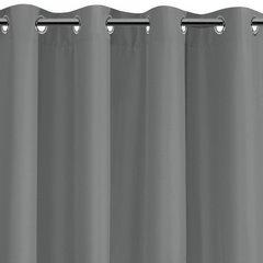 Szara gładka zasłona z matowej satyny 140x250 przelotki - 140 X 250 cm - szary 2
