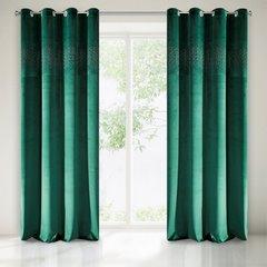 Zasłona welwetowa ciemno zielona z kryształkami 140x250 cm przelotki - 140 X 250 cm - zielony 2