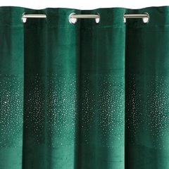 Zasłona welwetowa ciemno zielona z kryształkami 140x250 cm przelotki - 140x250 - zielony 2