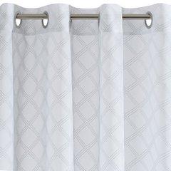Firana gotowa na przelotkach 140 x 250 cm biało srebrna geometryczny wzór - 140 X 250 cm - biały 6
