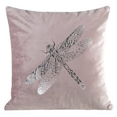 Poszewka na poduszkę różowa ze srebrną ważką 45 x 45 cm  - 45 X 45 cm - różowy 1