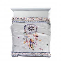 Narzuta łapacz snów modny styl boho żywe kolory 200x220cm - 200 X 220 cm - biały/wielokolorowy 3