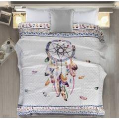 Narzuta łapacz snów modny styl boho żywe kolory 200x220cm - 200 X 220 cm - biały/mix kolorów 2