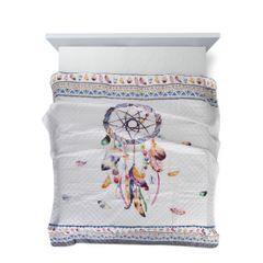 Narzuta łapacz snów modny styl boho żywe kolory 200x220cm - 200 X 220 cm - biały/mix kolorów 4