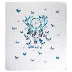 Narzuta łapacz snów czaszka i motyle 200x220cm - 200 X 220 cm - biały/miętowy 7