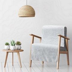 Koc o strukturze miękkiego futra na fotel biały 70x150cm - 70 X 160 cm - biały/srebrny 1